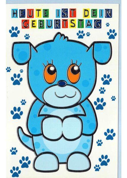 Geburtstagskarte Kinder Hund blau