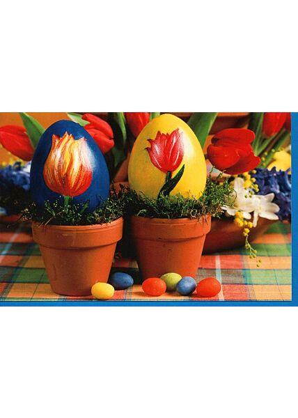 Grußkarte Ostern Eier blau und gelb