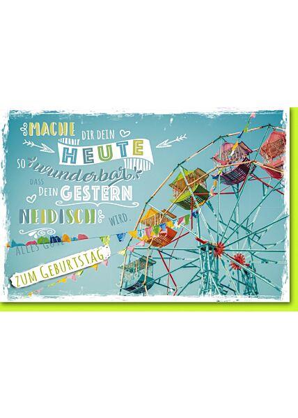 Geburtstagskarte mit Spruch Rießenrad mit bunten Gondeln