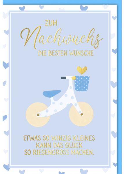 Glückwunschkarte Geburt Baby Junge Laufrad blau