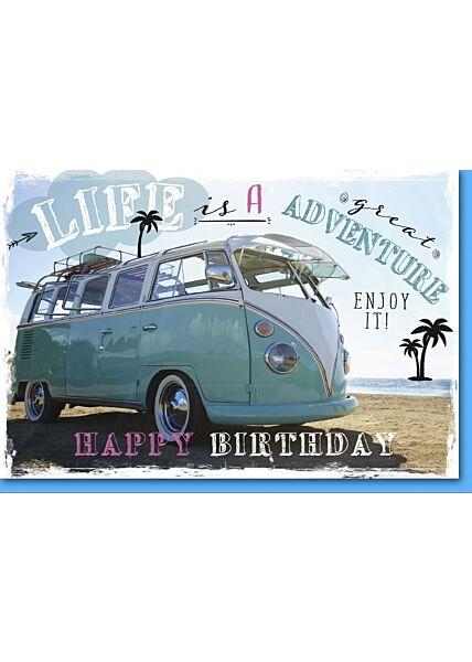Geburtstagskarte mit Spruch Bulli am Strand
