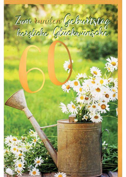 Geburtstagskarte 60 Jahre Gänseblümchen im Becher, mit Goldfolie