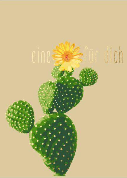 Postkarte Spruch Kaktus - Eine Blüte für Dich