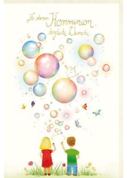 Glückwunschkarte Kommunion Naturkarton herzliche Wünsche