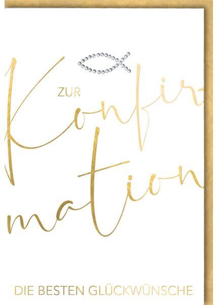 Konfirmationskarte Schrift gold Fischsymbol Kuvert gold