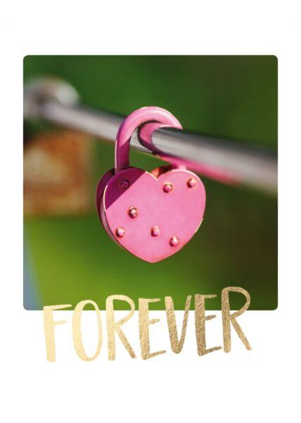 Postkarte Liebe Herzschloß Forever