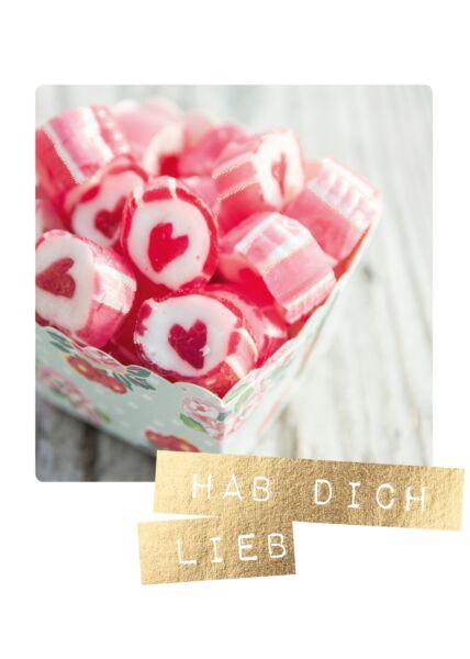 Postkarte Liebe Herzbonbons Hab' Dich lieb