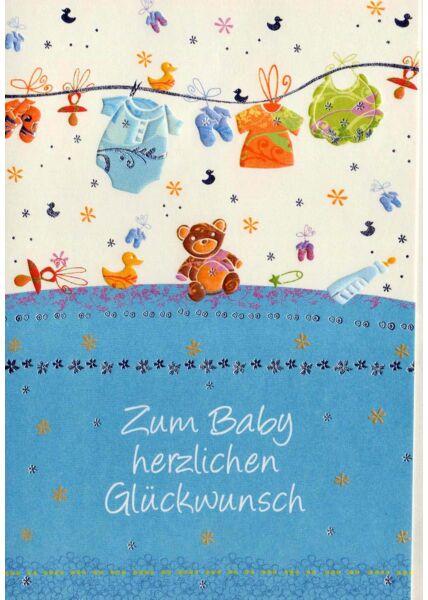 Geburt Junge: Wäscheleine blau