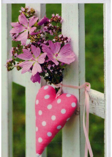 Karte blanko: Blumenstrauß mit rosa Herz