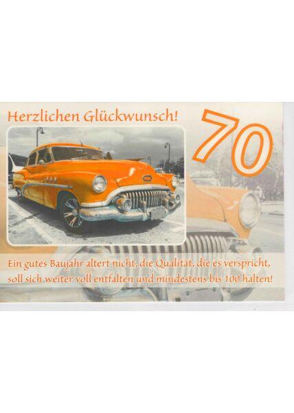 Geburtstagskarte 70 für Oldtimer und Autoliebhaber