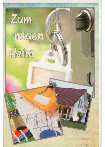 Glückwunschkarte neues Heim Schlüssel Tür