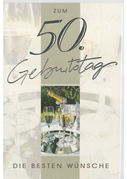 Glückwunschkarte zum 50 Geburtstag. Sektgläser