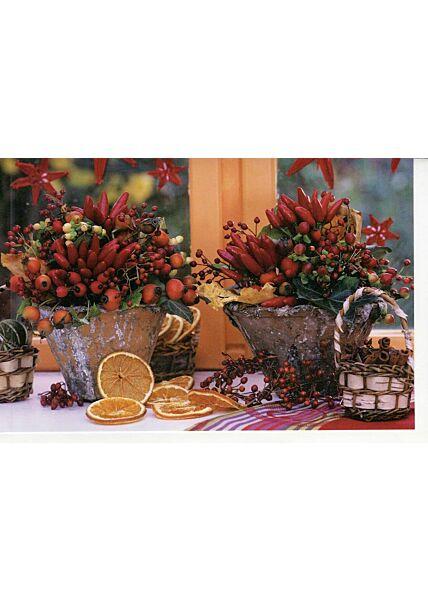 Weihnachtskarten Traditionell Grußkarte Herbstmotiv Fensterbank