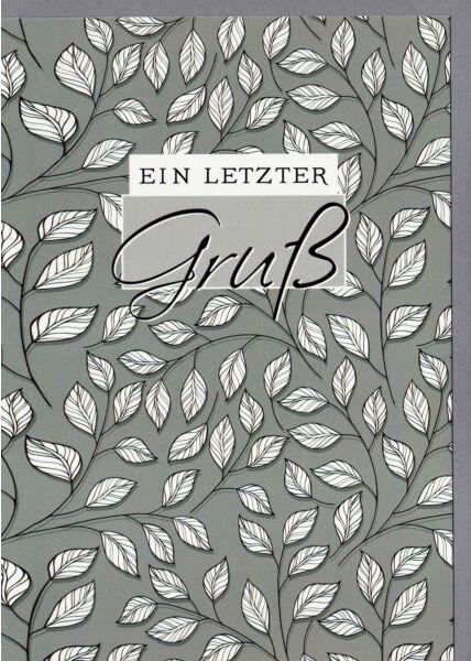 Trauerkarte Blätter Ein letzter Gruß