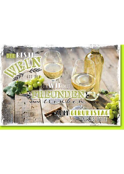 Geburtstagskarte mit Spruch Weinpause