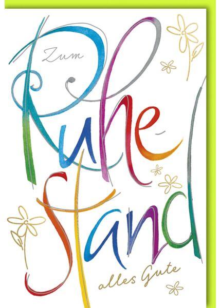 Ruhestandskarte - Farbige Schrift auf weiß