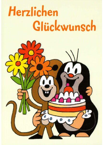 Postkarte für Kinder Der kleine Maulwurf Herzlichen Glückwunsch