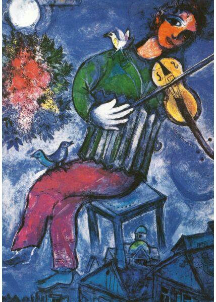 Kunstkarte Marc Chagall - The Blue Violinist