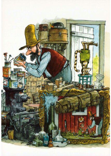 Postkarte Pettersson und Findus Farbdosen