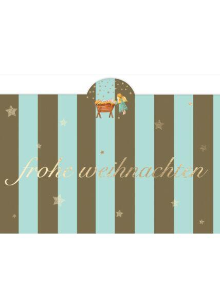 Weihnachtspostkarte Engel a.d. Krippe