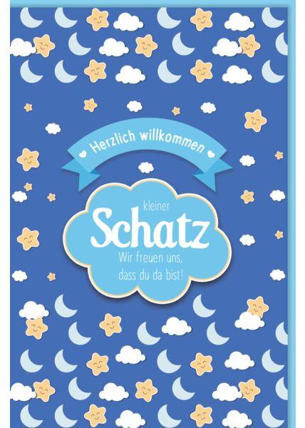 Glückwunschkarte Geburt Junge Kleiner Schatz, wir freuen uns, dass du da bist