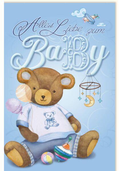 Glückwunschkarten Geburt Junge Teddy blau Alles Liebe zum Baby