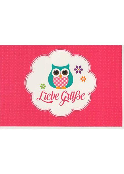Grußkarte Eule: Liebe Grüße