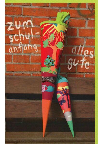 Glückwunschkarten zur Einschulung Karte zur Einschulung Schultüten