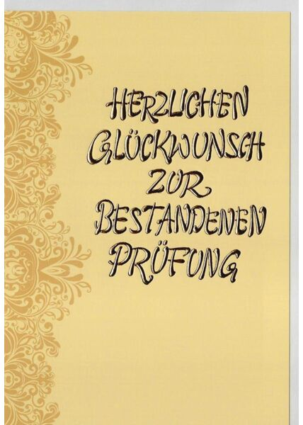 Glückwunschkarte Prüfung Goldfolie hochwertig