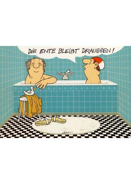 Lustige Postkarte Badewanne zwei Männer