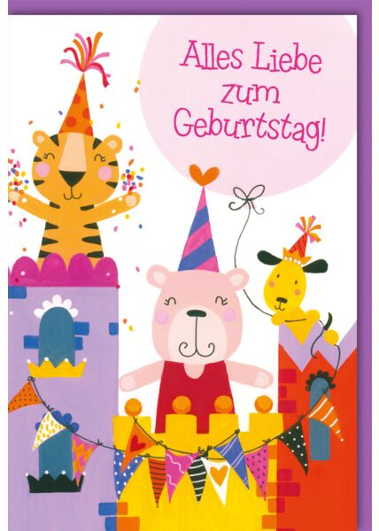 Geburtstagskarte Kinder Tiger, Bär und Hund auf Burg