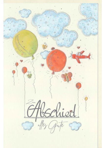 Abschiedskarte Luftballons, Schmetterlinge, Herzen, Flugzeug fliegt durch die Wolken, Naturkarton, mit Silberfolie und Blindprägung