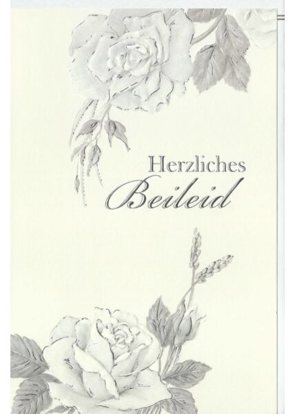 Trauerkarte Rosen, Naturkarton, mit Silberfolie und Blindprägung