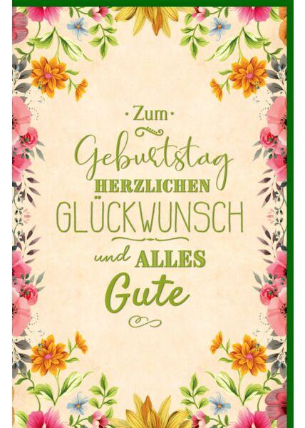 Glückwunschkarte Geburtstag Blumen, mit grüner Metallicfolie