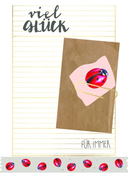 Postkarte Spruch Viel Glück für immer - Marienkäfer