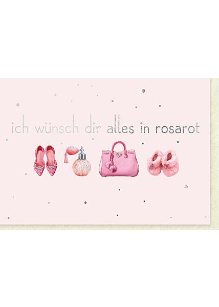 Geburtstagskarte Grußkarte Wünsche Frauen Pumps, Flakon, Handtasche, Hausschuhe