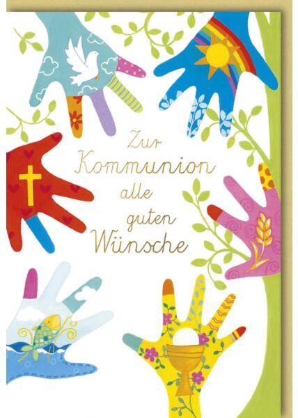Karte Glückwunsch Kommunion sechs Hände Symbole Kirche