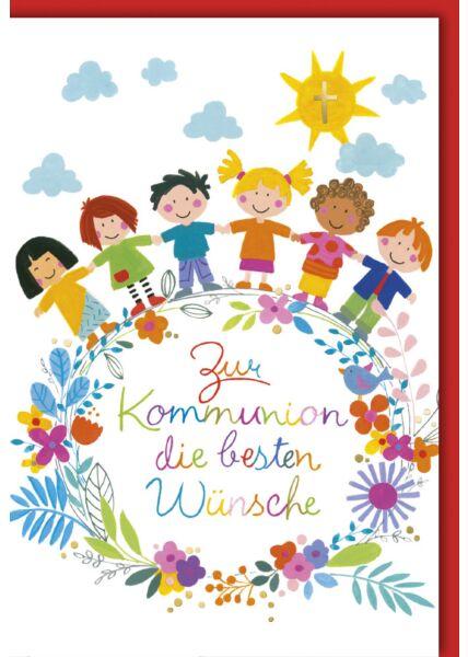Schöne Kommunionskarte Kinder Hände Sonne Wolken