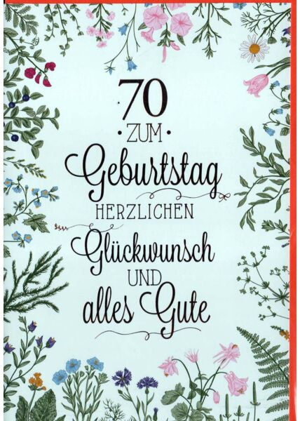 Geburtstagskarte 70. Geburtstag: Blumen auf hellblau