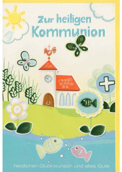 Karte zur Kommunion Fische und Kirche