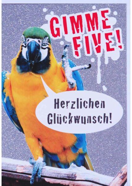 Glückwunschkarte Papagei lustig Gimme Five