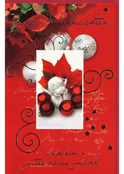 Weihnachtsgrußkarte rot Schrift Silberfolie