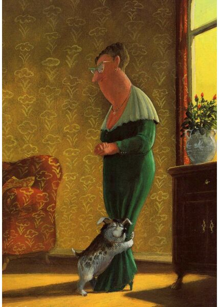Postkarte Frau Hund Freundschaft Illustration