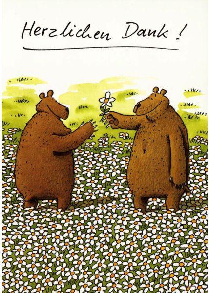 Postkarte Bären Feld Herzlichen Dank!