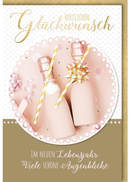 Geburtstagskarte premium pinke Fläschchen