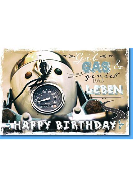 Geburtstagskarte, Rollertacho