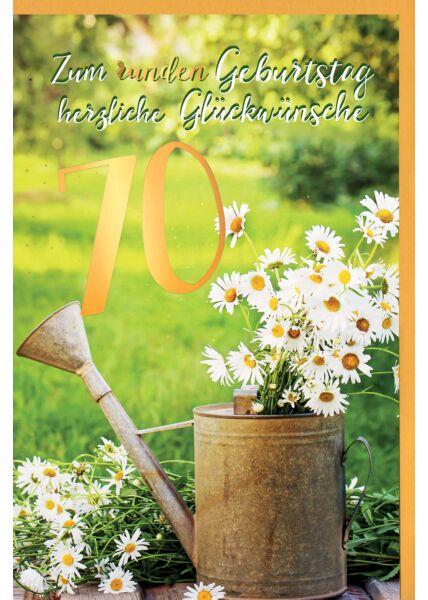 Geburtstagskarte 70 Jahre Gänseblümchen im Becher, mit Goldfolie