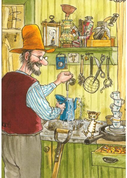 Postkarte Pettersson und Findus In der Küche