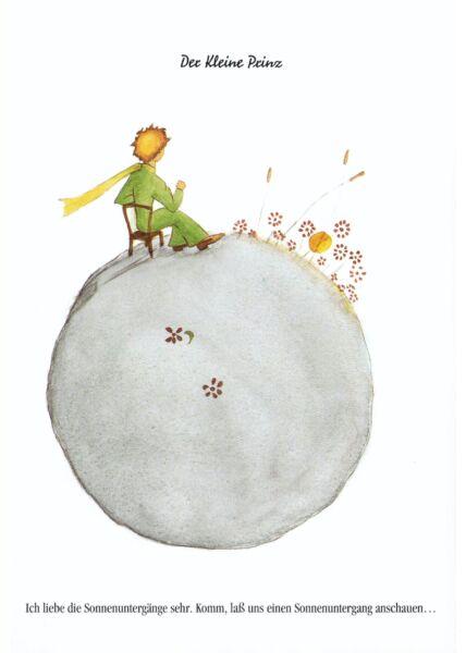 Postkarte Der kleine Prinz Ich liebe die Sonnenuntergänge...
