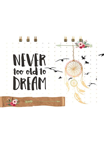 Postkarte Spruch Never too old to dream